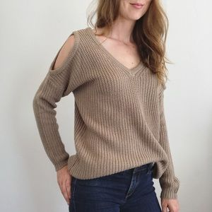 Taupe Shoulder Cut Out V Neck Sweater